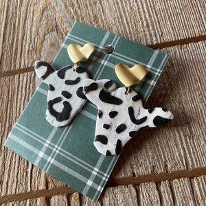 Western themed cow head dangle earrings